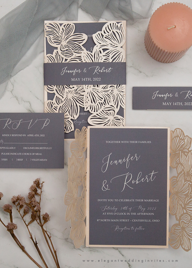 elegant blush laser cut wedding invitation with dark grey inner and belly band