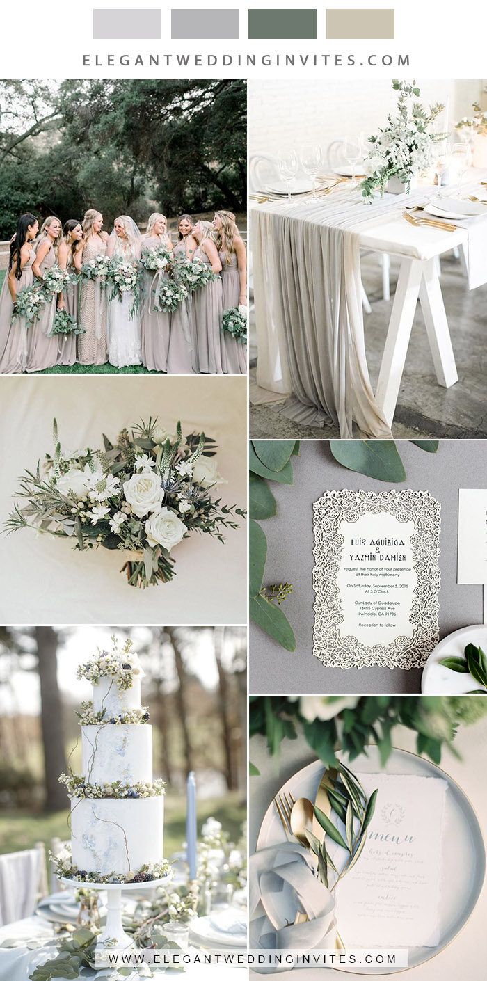 elegant light grey classic weddding color ideas with matching invites