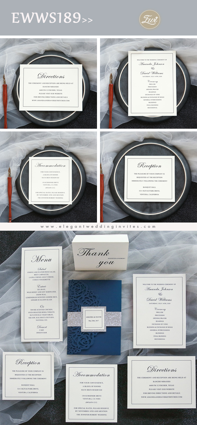 elegant navy blue rose laser cut pocket wedding invitations with glitter belly bands and tags invitation suite