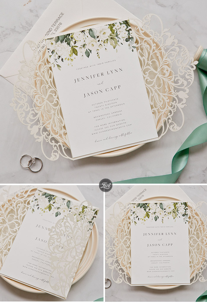 elegant neutral shades laser cut wedding invitations with greenery design