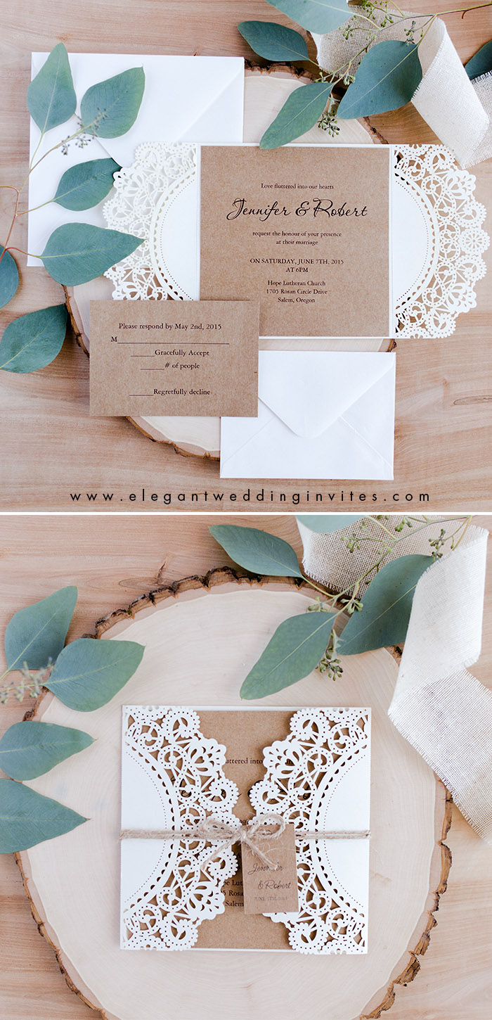 elegant rustic chic simple laser cut wedding invitation with tags