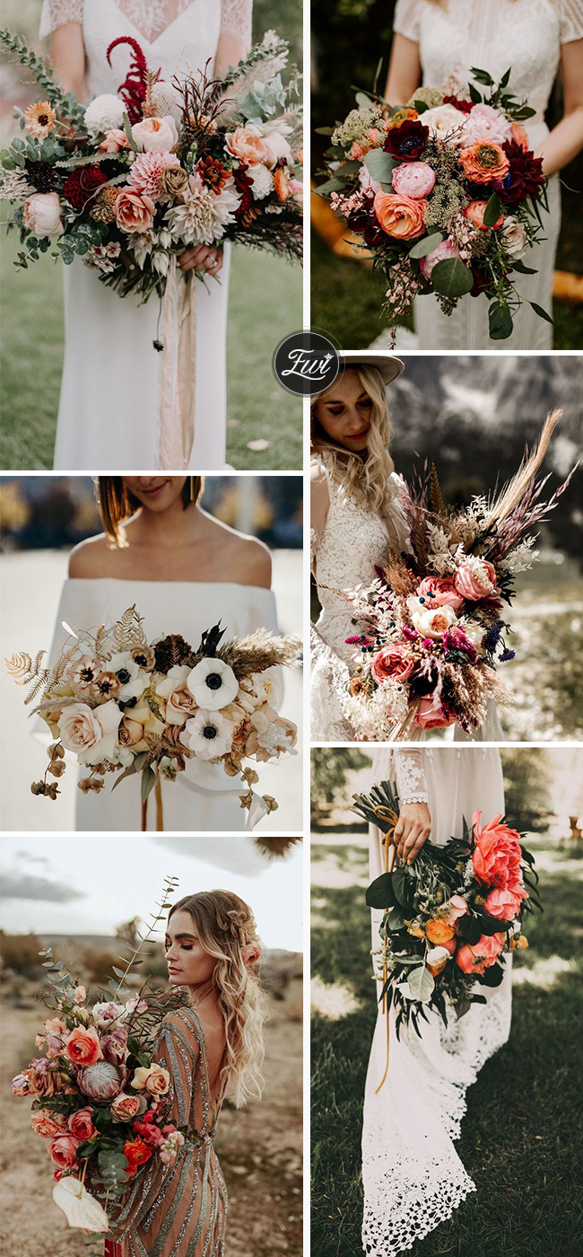 elegant wedding bouquet for fall backyard wedding