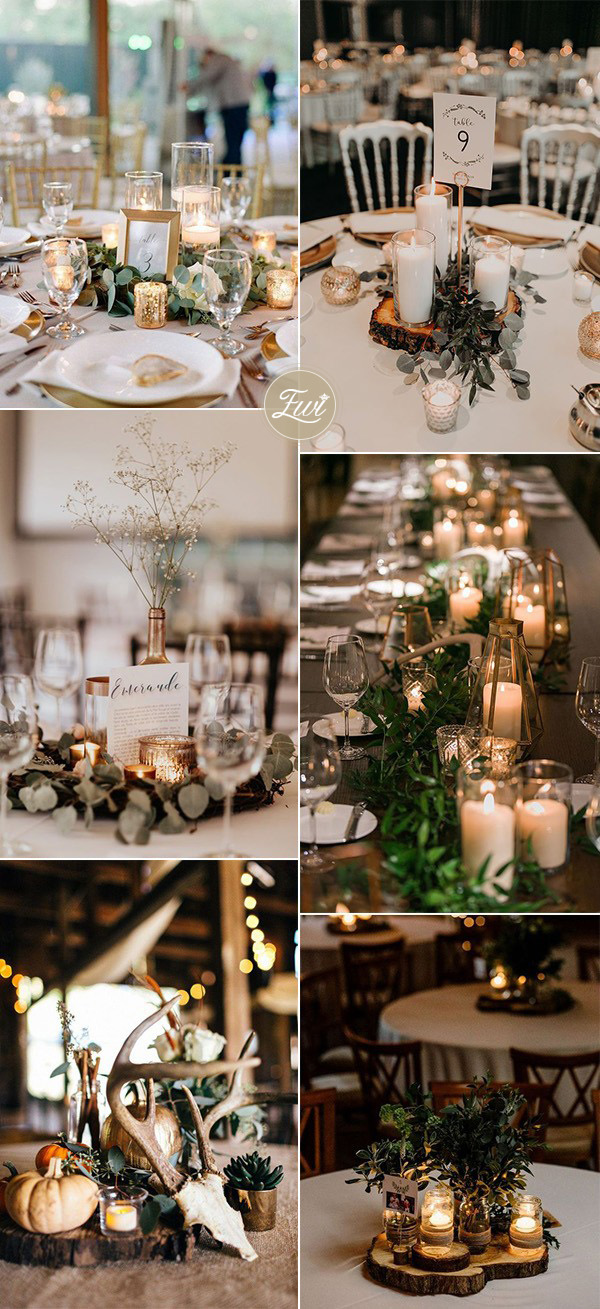 fall backyard wedding centerpiece ideas with candles