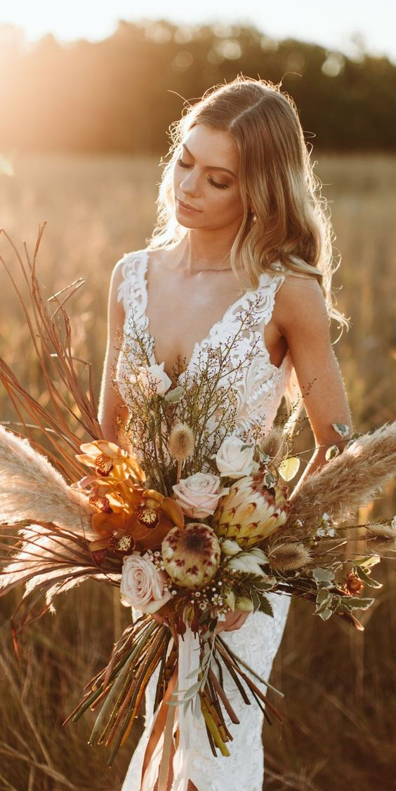 fall beautiful dried wedding bouquet ideas