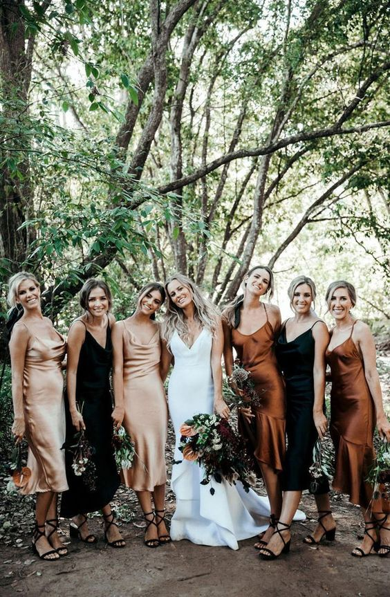 fall copper champagne and black wedding bridesmaid dress ideas