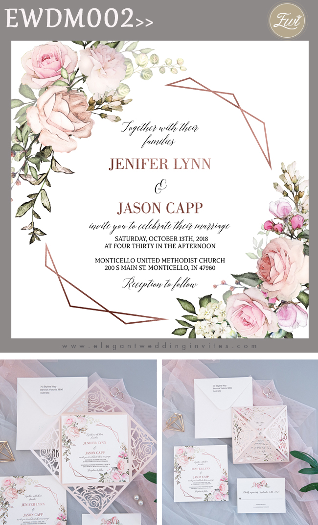 geometric blooms-pink florals and geometric pattern invitation with blush shimmer laser cut fold