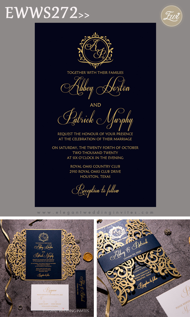 gold and navy that sparkles and shine foiling wedding invitation
