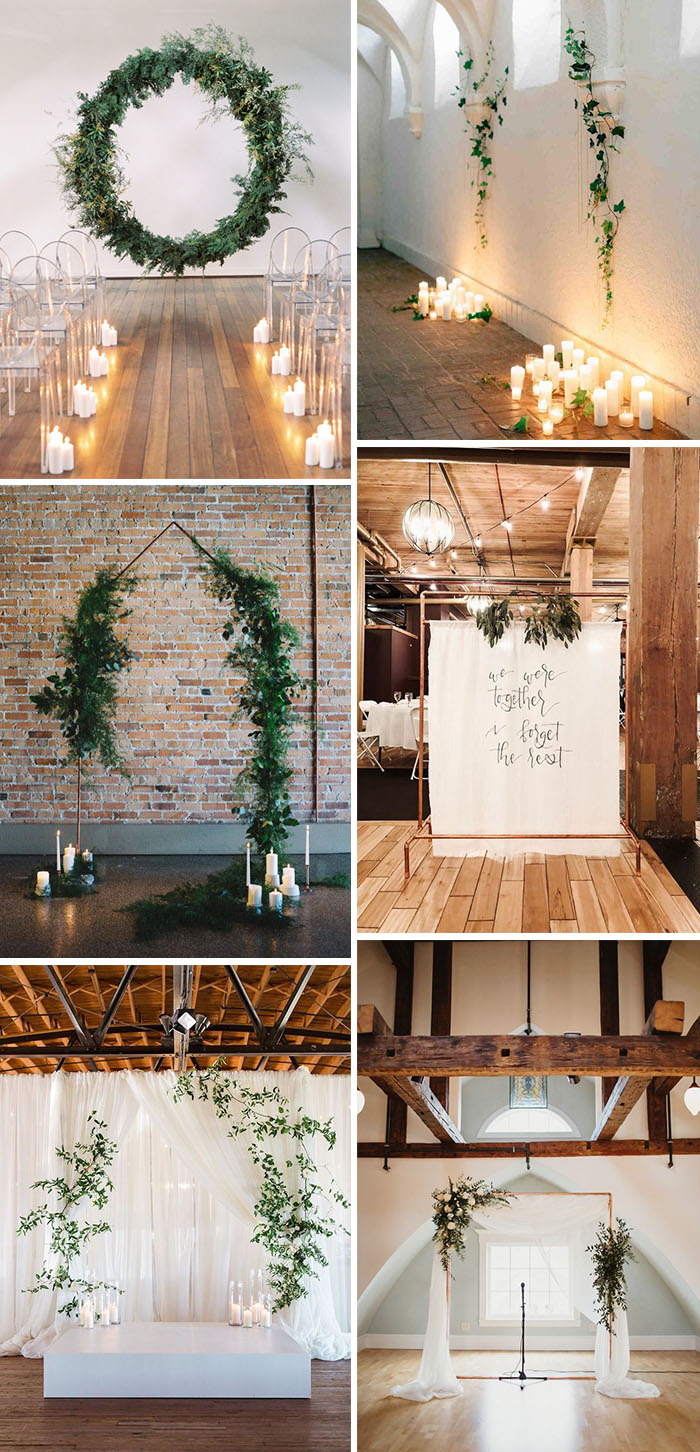 greenery inner door minimalist wedding ceremony backdrop ideas with greenery