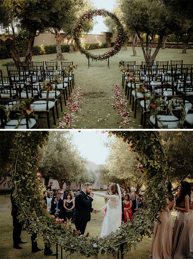 lovely circle wreath wedding ceremony arch for spring outdoor backyard wedding