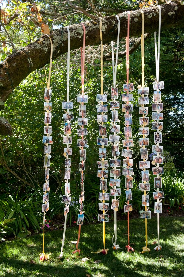 lovely hanging photos wedding decoration ideas