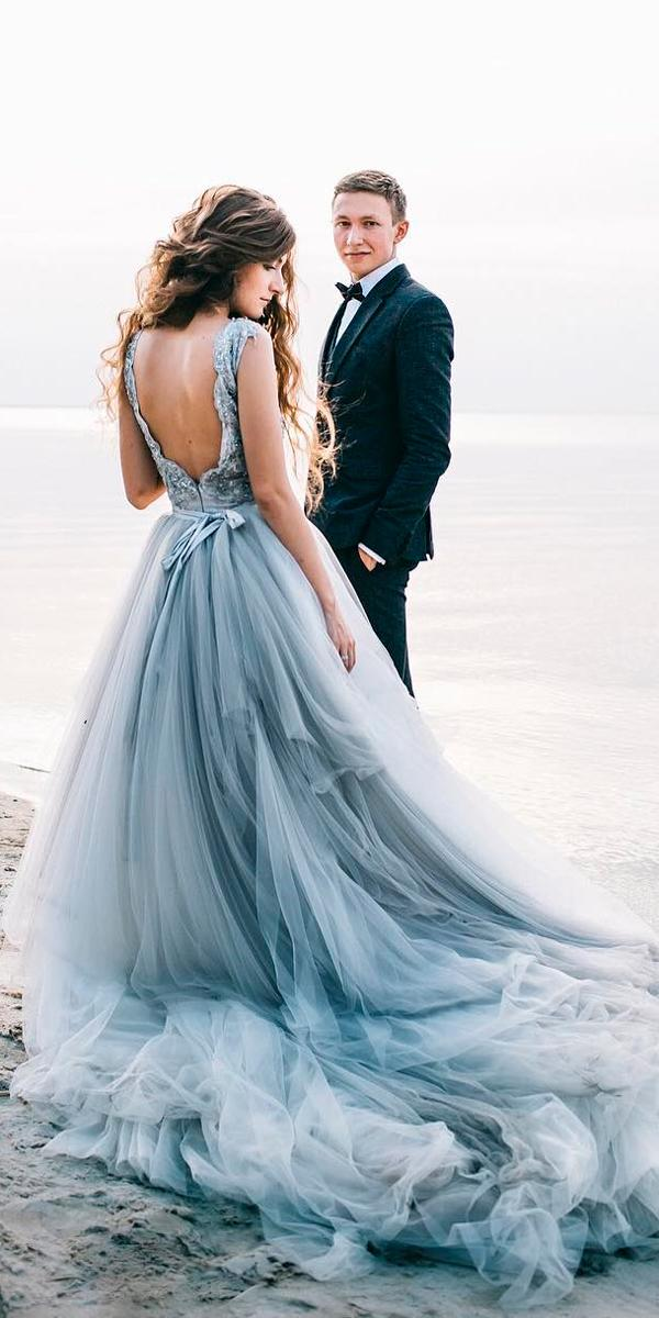 lovely ombre blue low back beach wedding dresses