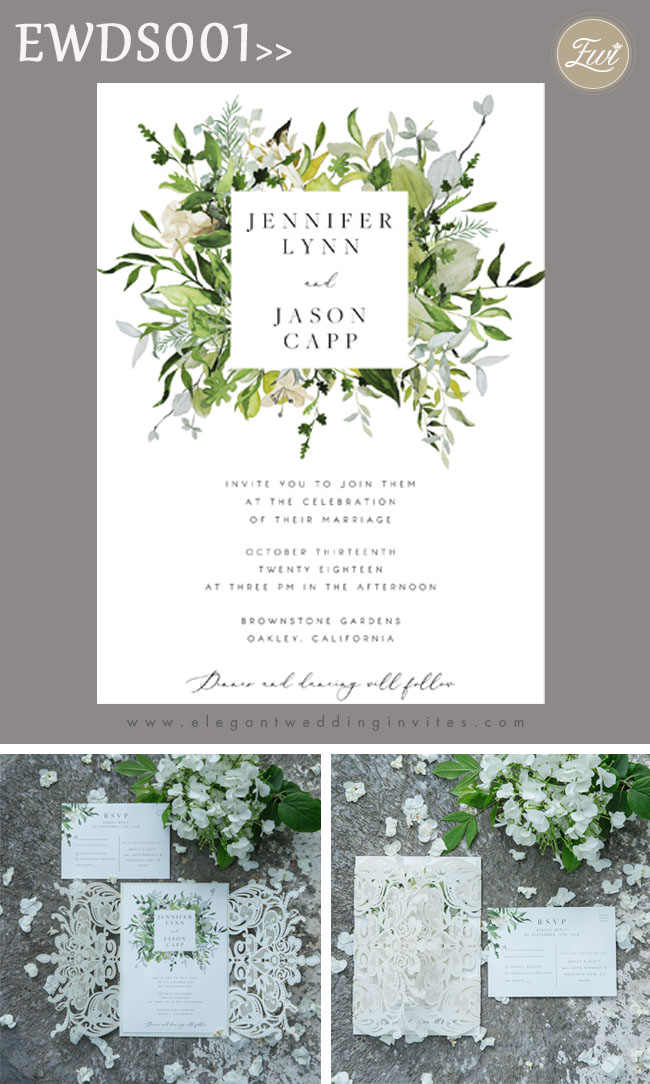 lush greenery inspired invitation with ivory shimmer laser cut wrap
