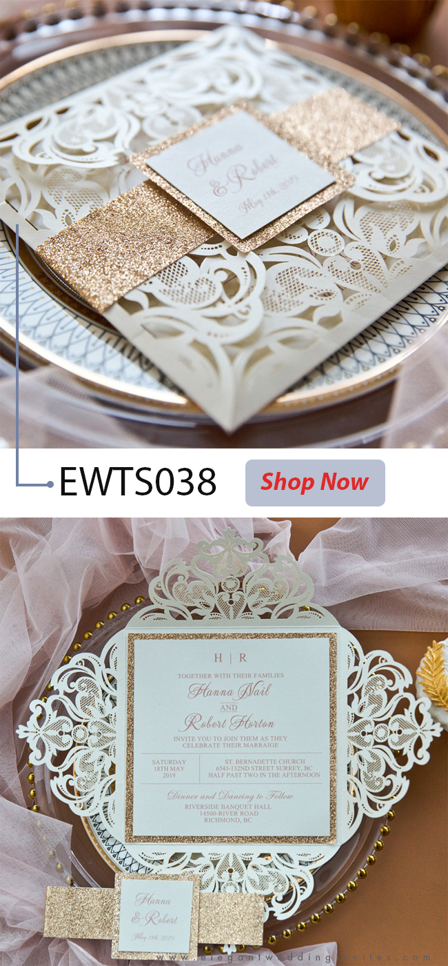 luxury rose gold laser cut wedding invites with glittery bottom card and belly band