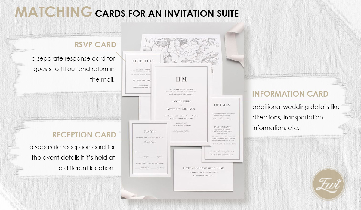 matching cards for an wedding invitation suite