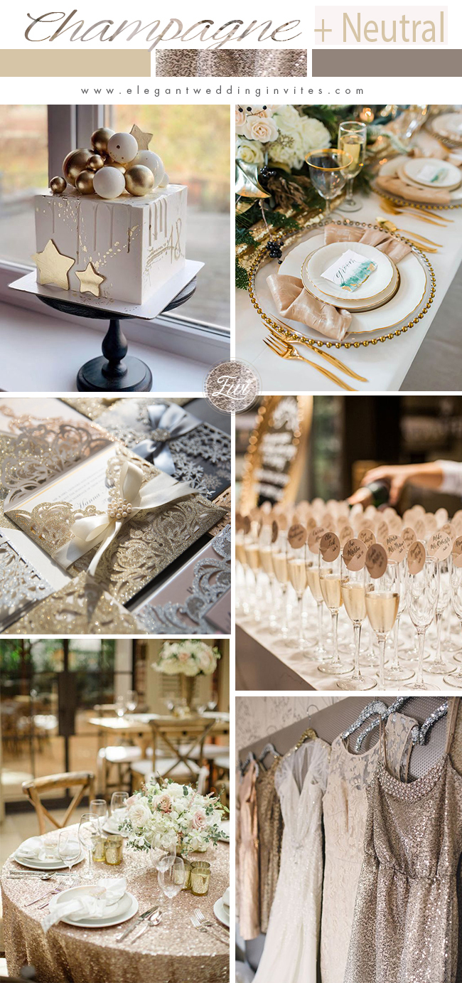 moderm chic champagne glitter annd neutral wedding color ideas