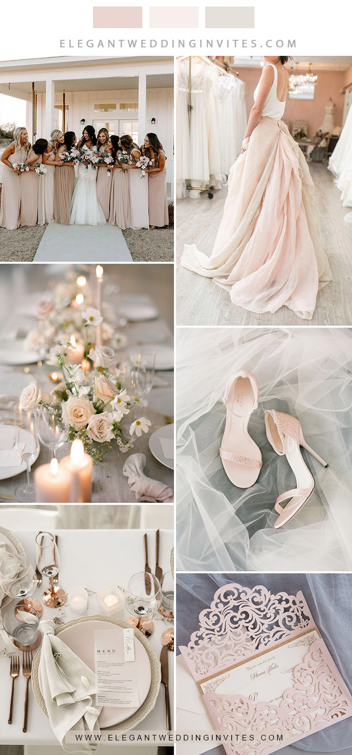modern chic neutral blush and ivory wedding colors