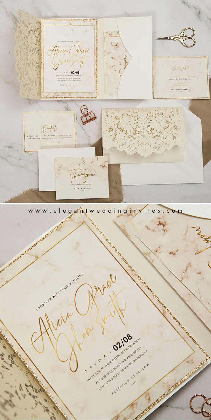 modern elegant marble inspire neutral ivory wedding invitation with rose gold accents