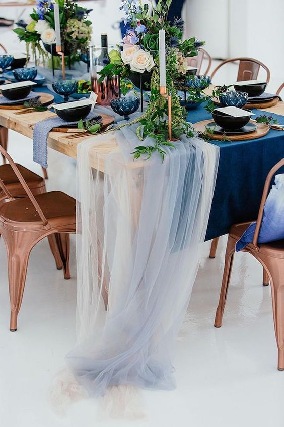 modern shade of blue wedding table setting