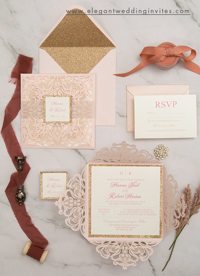new classic blush and rose gold laser cut wedding invitations