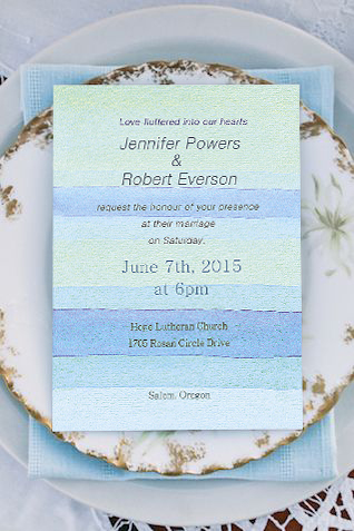 ocean blue water color beach wedding invitation card