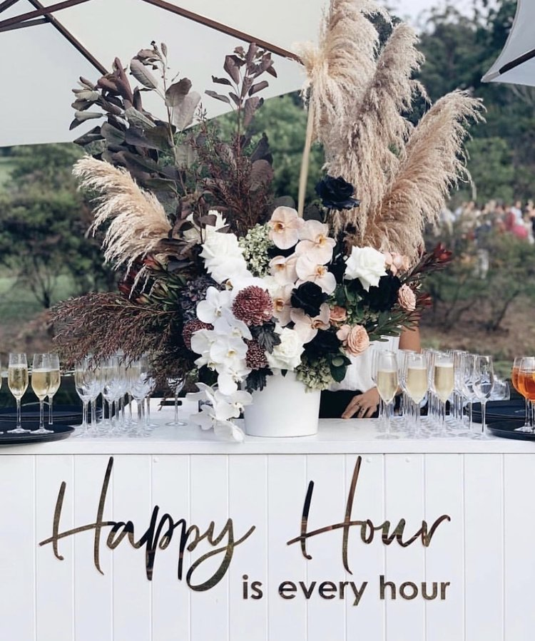 romantic backyard wedding bar ideas with dired flower decor