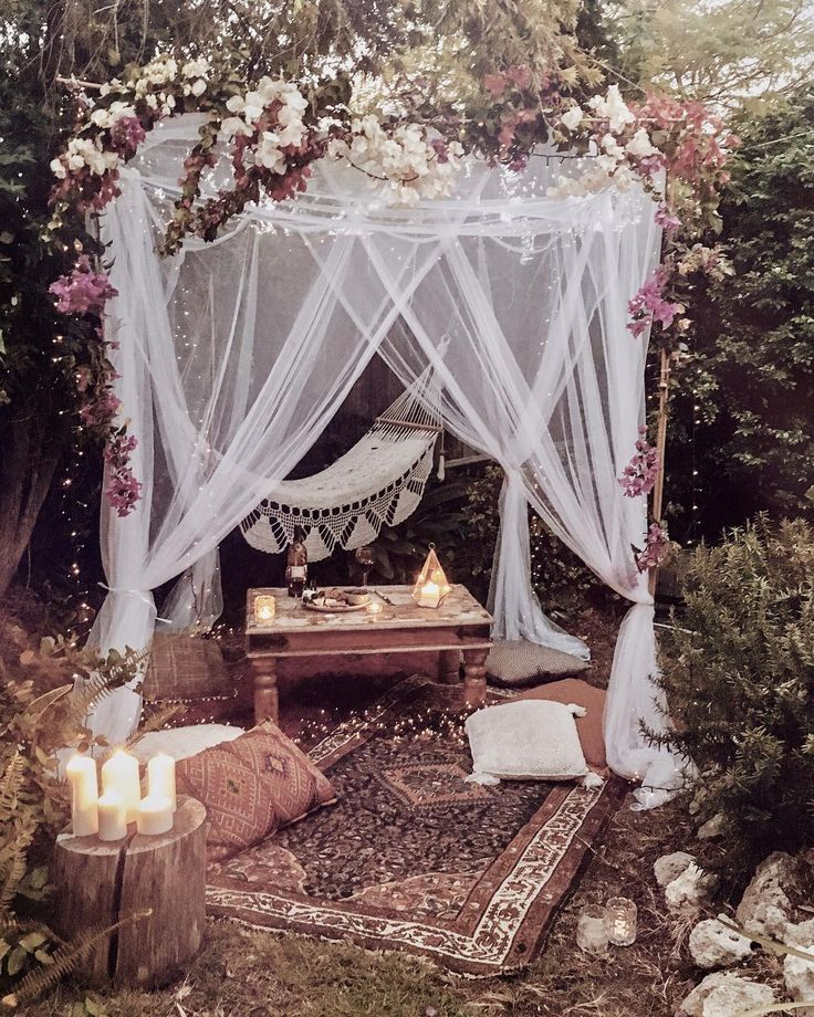 romantic backyard wedding loune area ideas