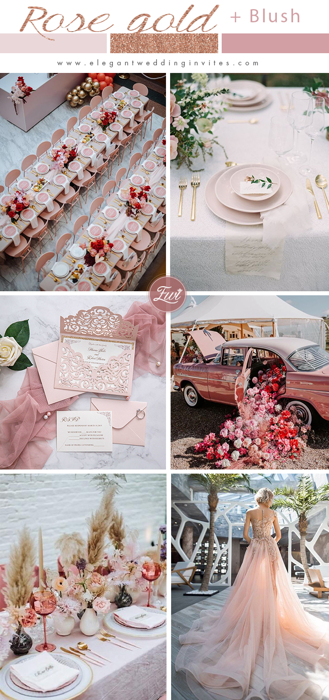 romantic blush pink and rose gold glittery wedding color inspiration