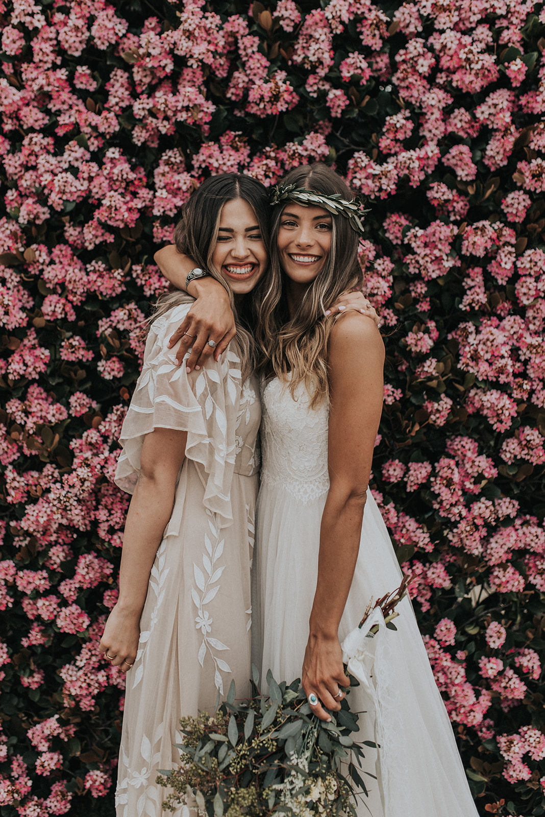 romantic netural wedding bridesmaid dresses ideas with floral backdrop