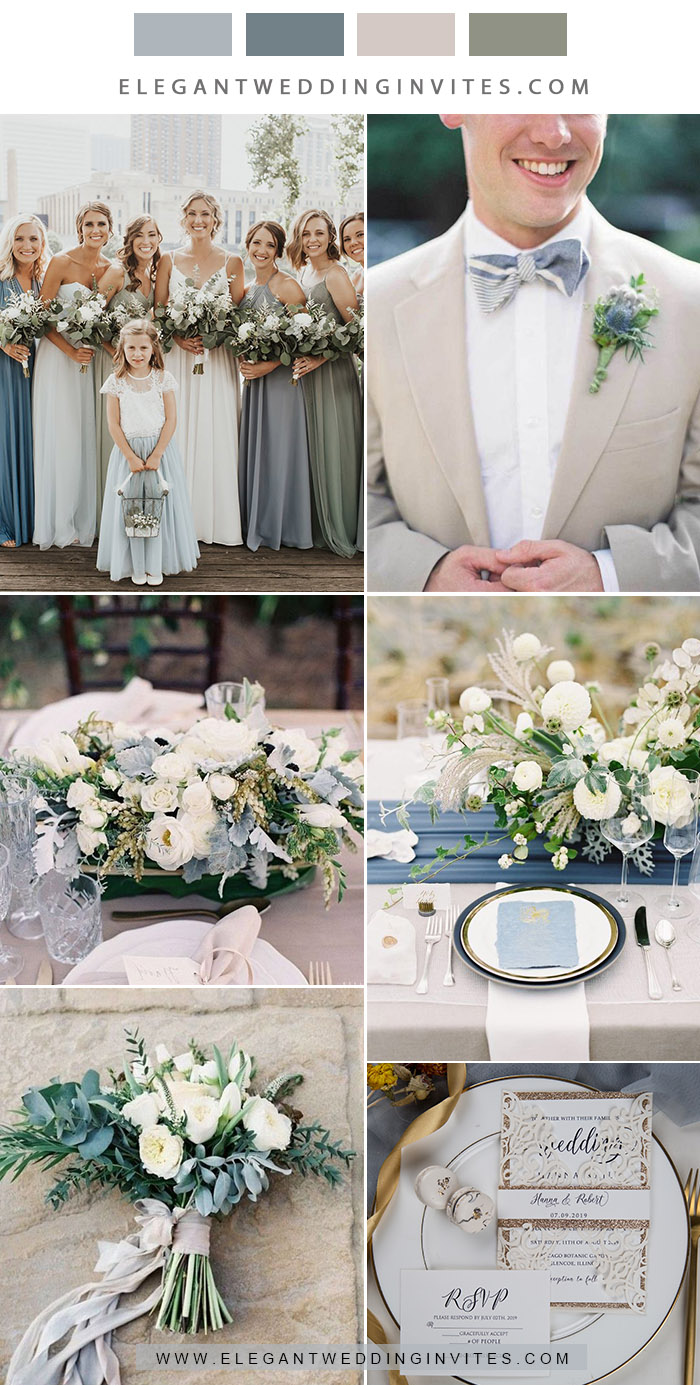 romantic shades of blue and sage green neetral garden wedding colors