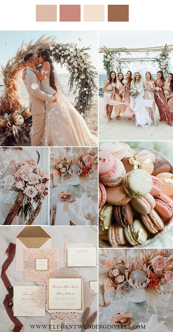 romantic shades of blush and pink beach side wedding colors