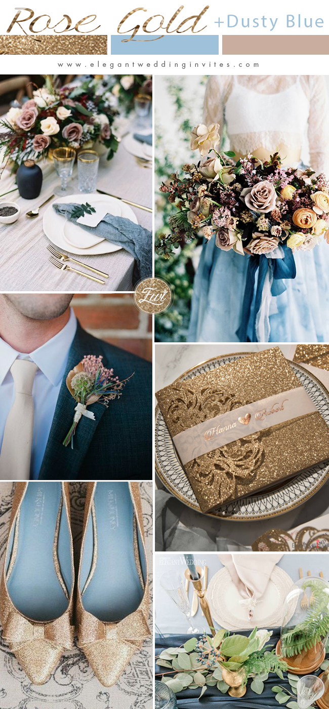 rose gold glitter and dusty blue wedding color ideas