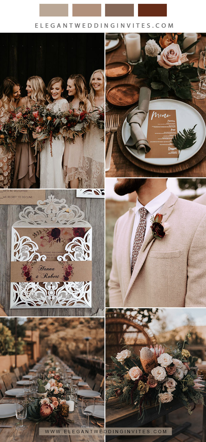 rustic chic earthy tone neutral fall wedding colors with pop of burgundy