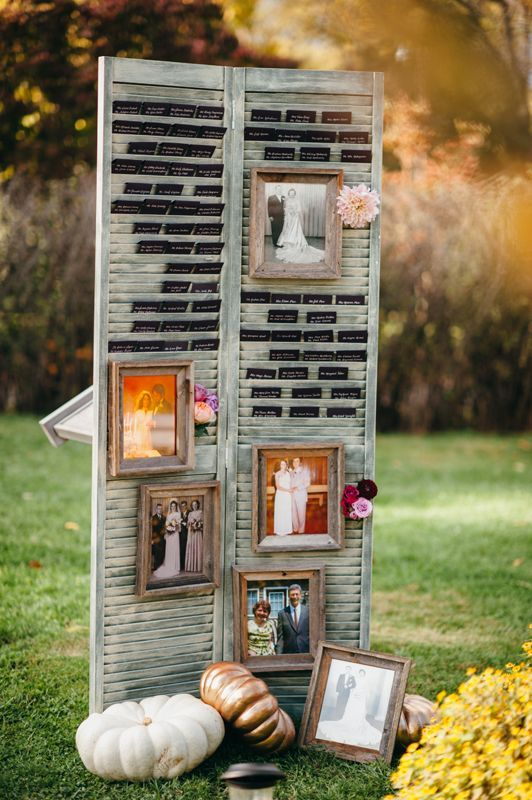 rustic wedding photo display with shutter upcycle