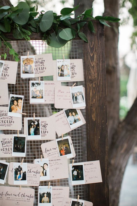rustic wedding photo easel display ideas