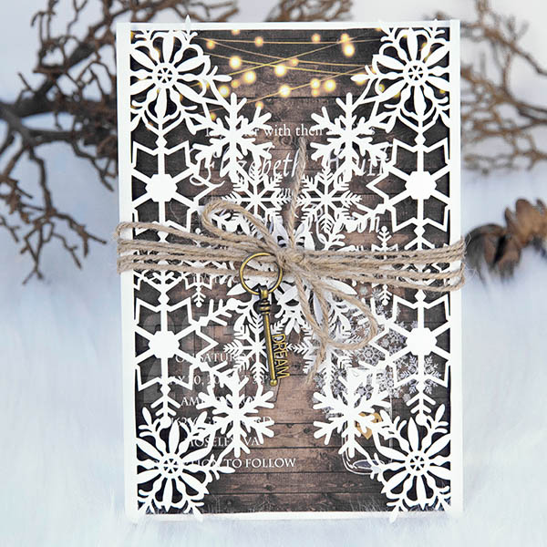 rustic winter wooden paper wedding invitations with lights pattern