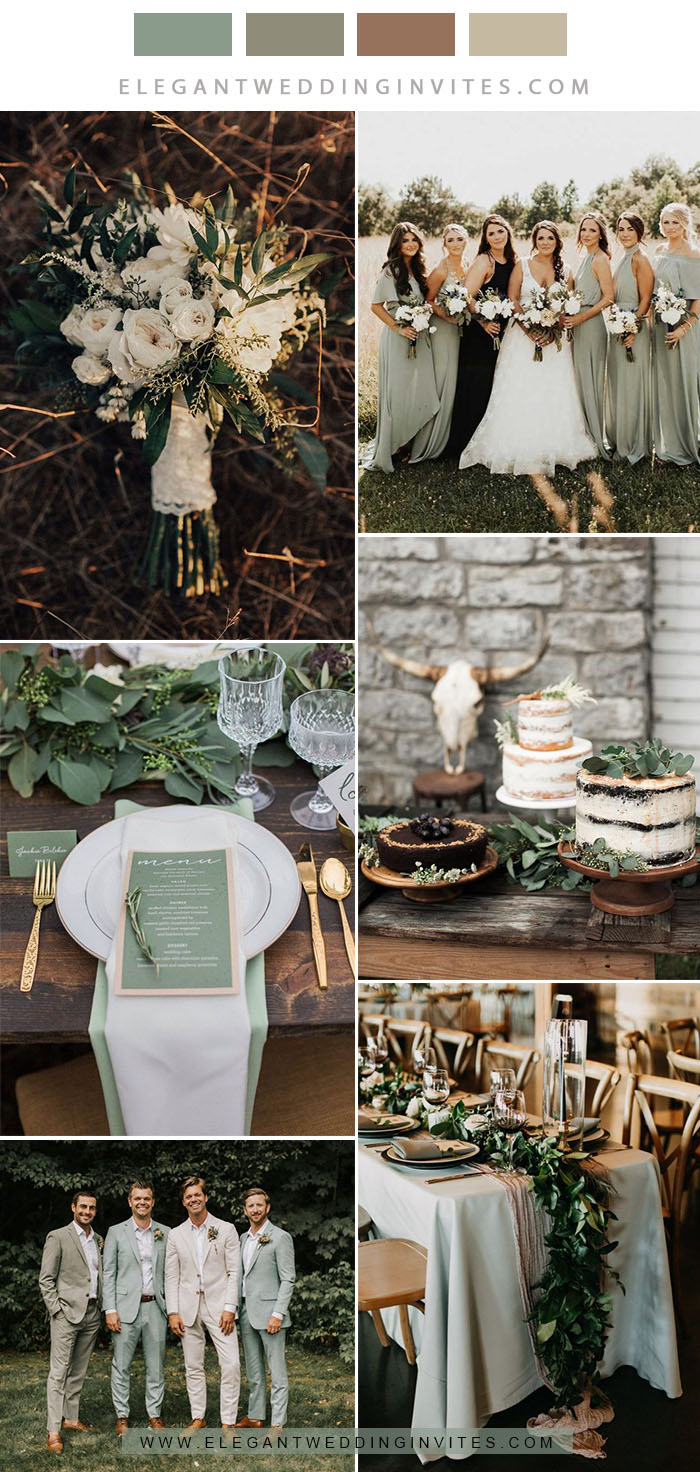 sage green, grey and greenery rustic neutral wedding color combos