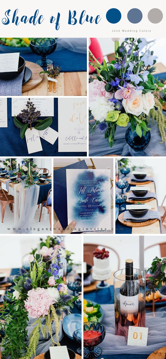 shade of blue wintery wedding color palette ideas