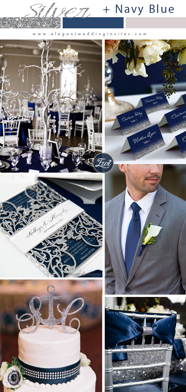 silver glitter and navy blue wedding color ideas