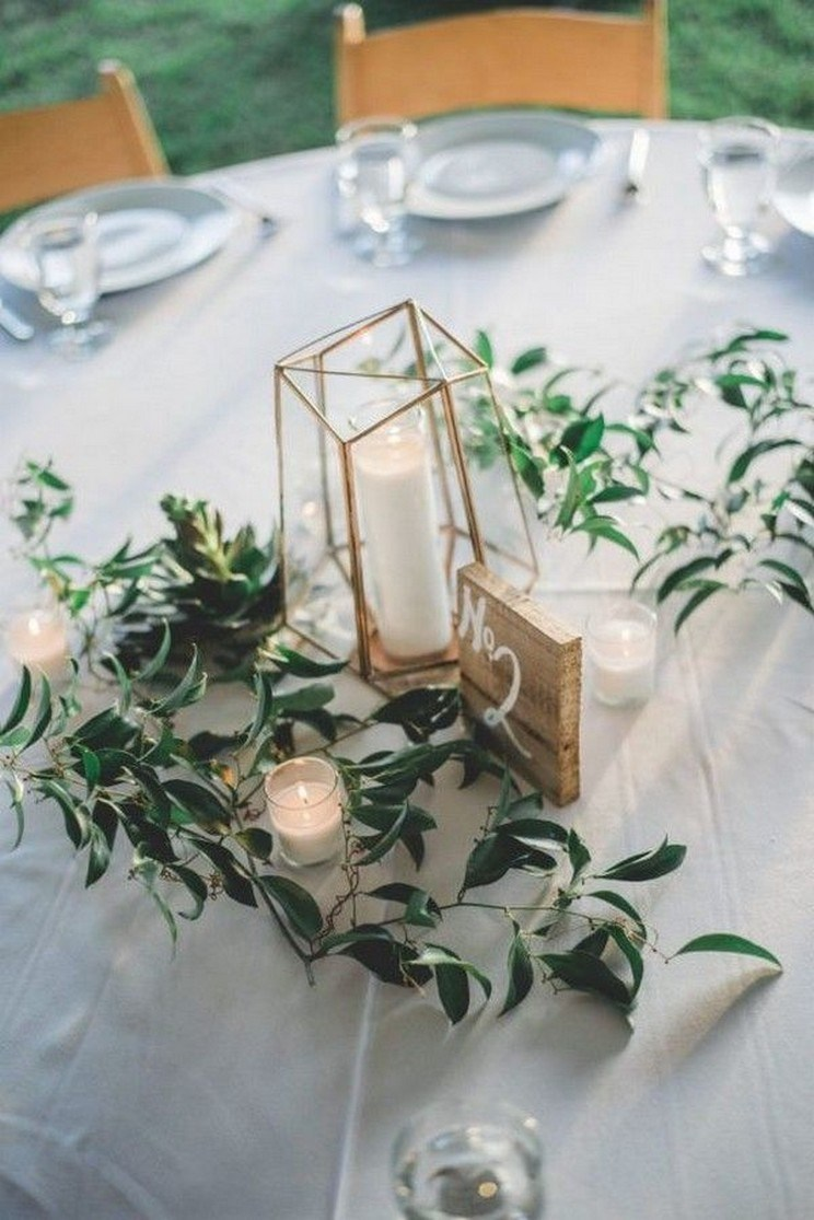 simple and chic geometric wedding wedding centerpieces for minimal brides