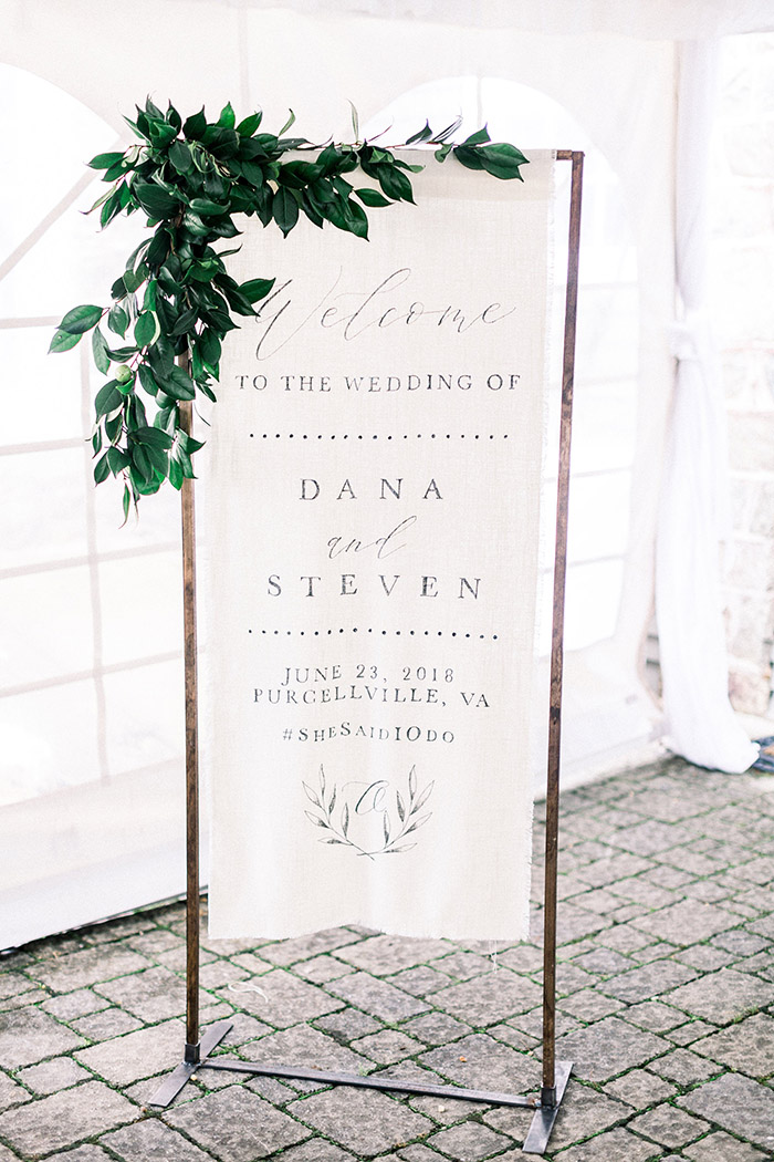 simple chic fabric wedding welcome sign ideas