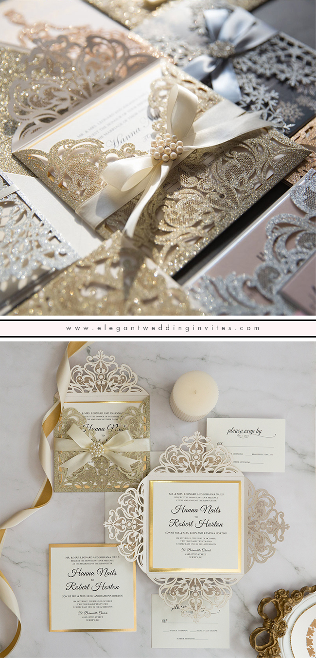 stunning champagne glittery laser cut wedding invitation with gold mirror paper and ivory ribbon EWWS299
