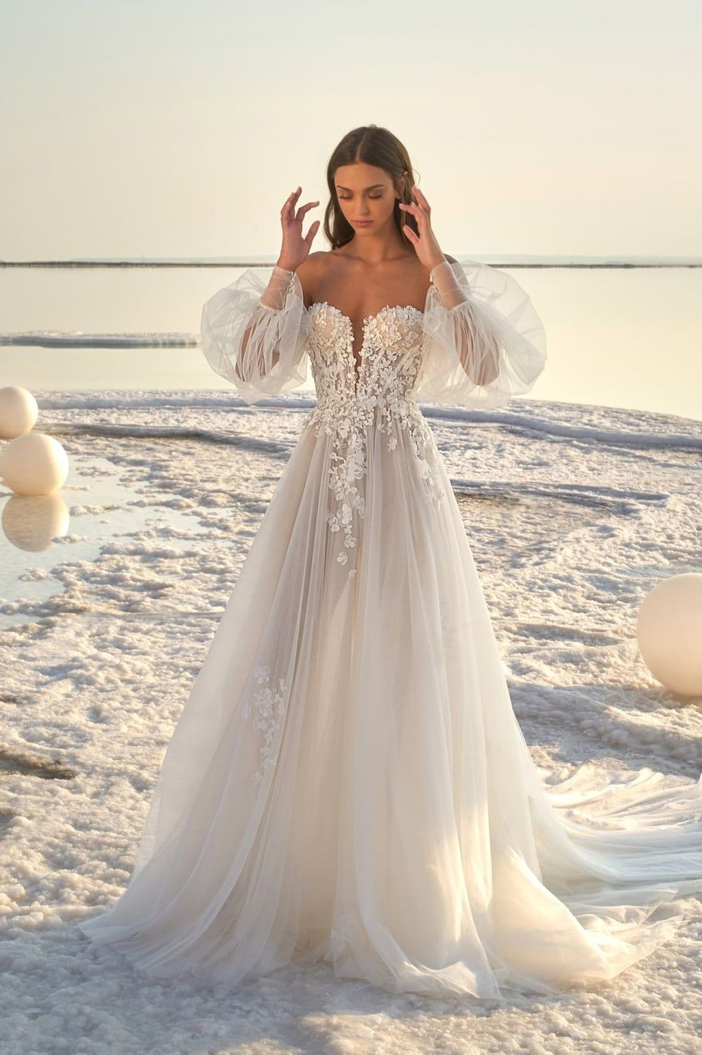 stunning off the shoulder sweetheart neckline romantic wedding dresses