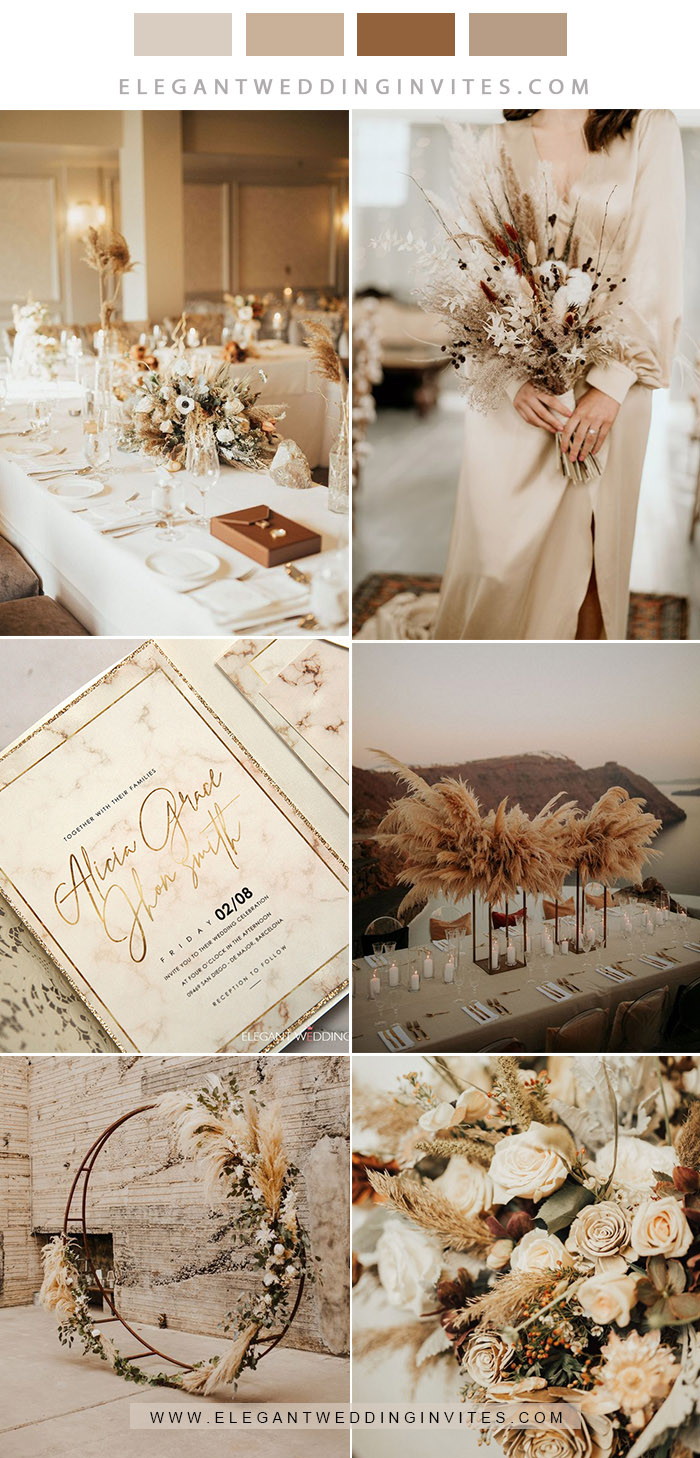 stylish modern boho style neutral wedding coolor combos in beige