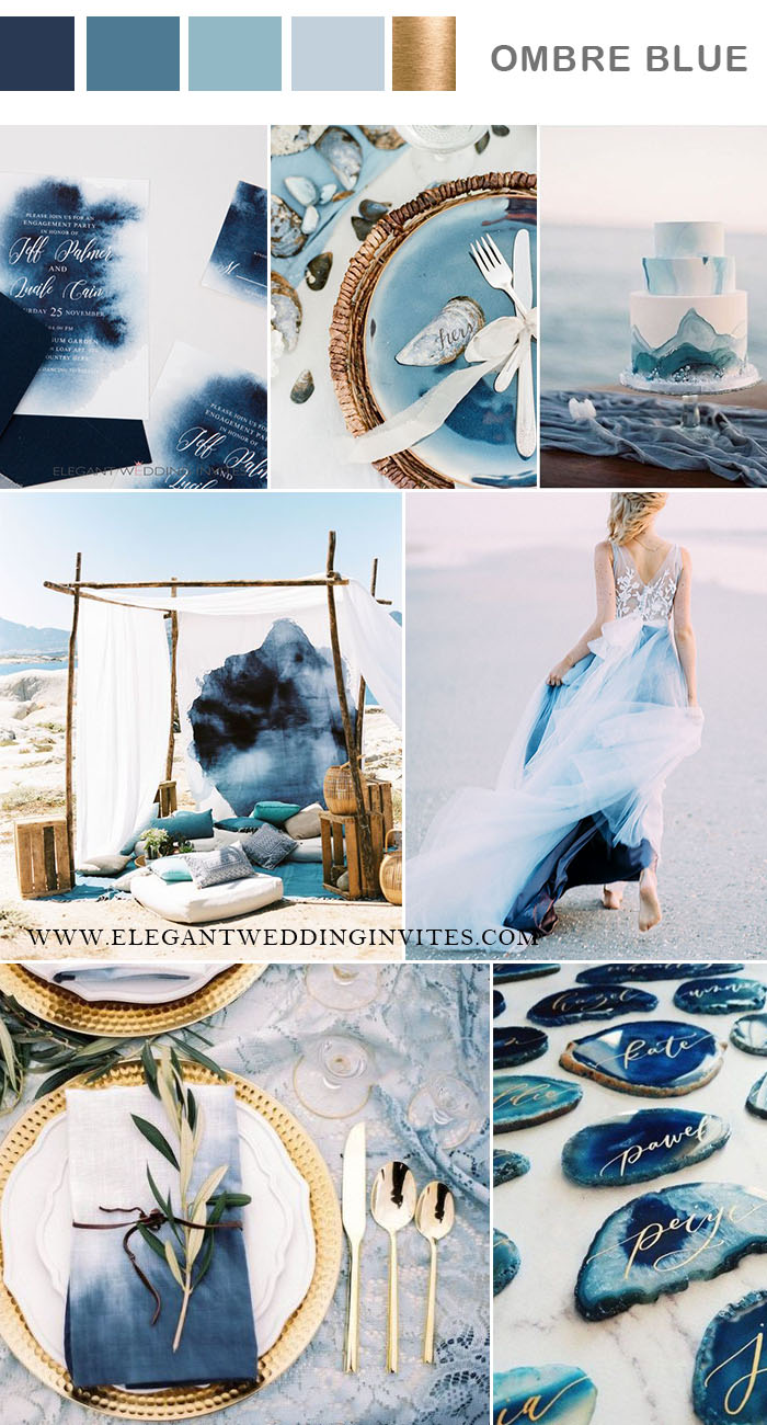 stylish ombre blue summer beach wedding colors
