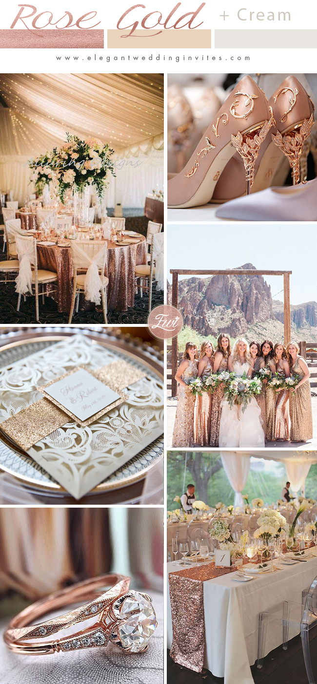 stylish rose gold and netural cream wedding color ideas