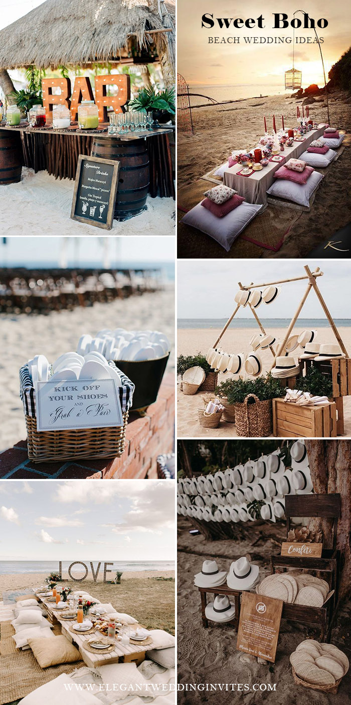 sweet and intimate beach wedding ideas for a relaxing boho theme beach wedding