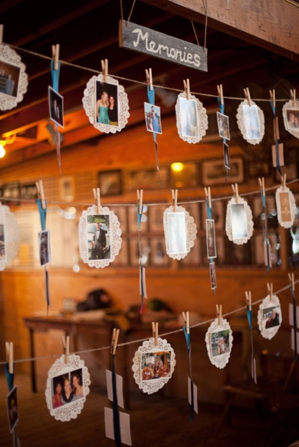 sweet wedding photo display decoration ideas with doilies