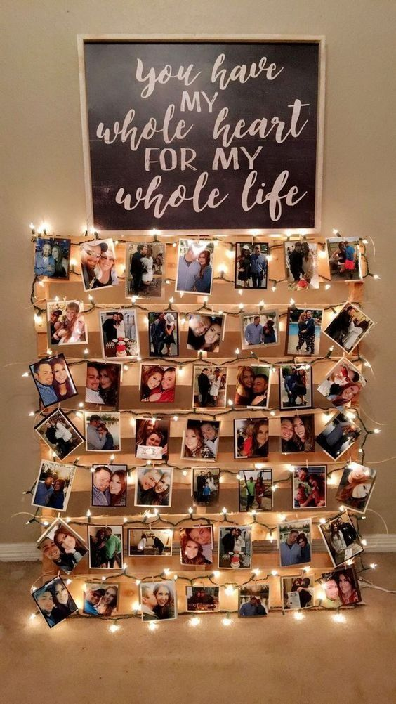 sweet wedding photo pallet collages ideas with light