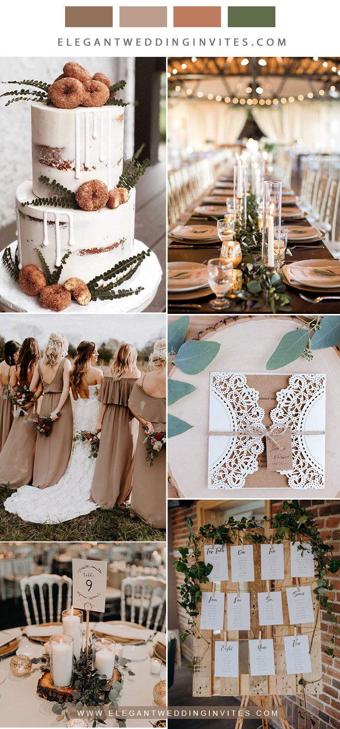 warm taupe neutral shades rustic wedding color ideas