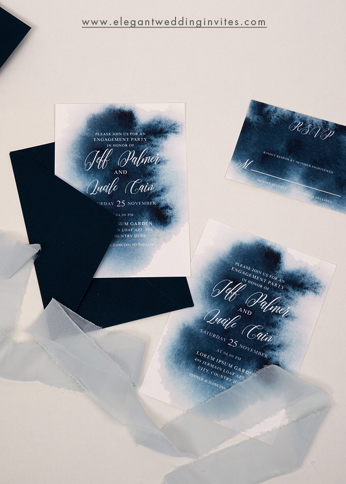 watercolor blue shades wedding invitation suite